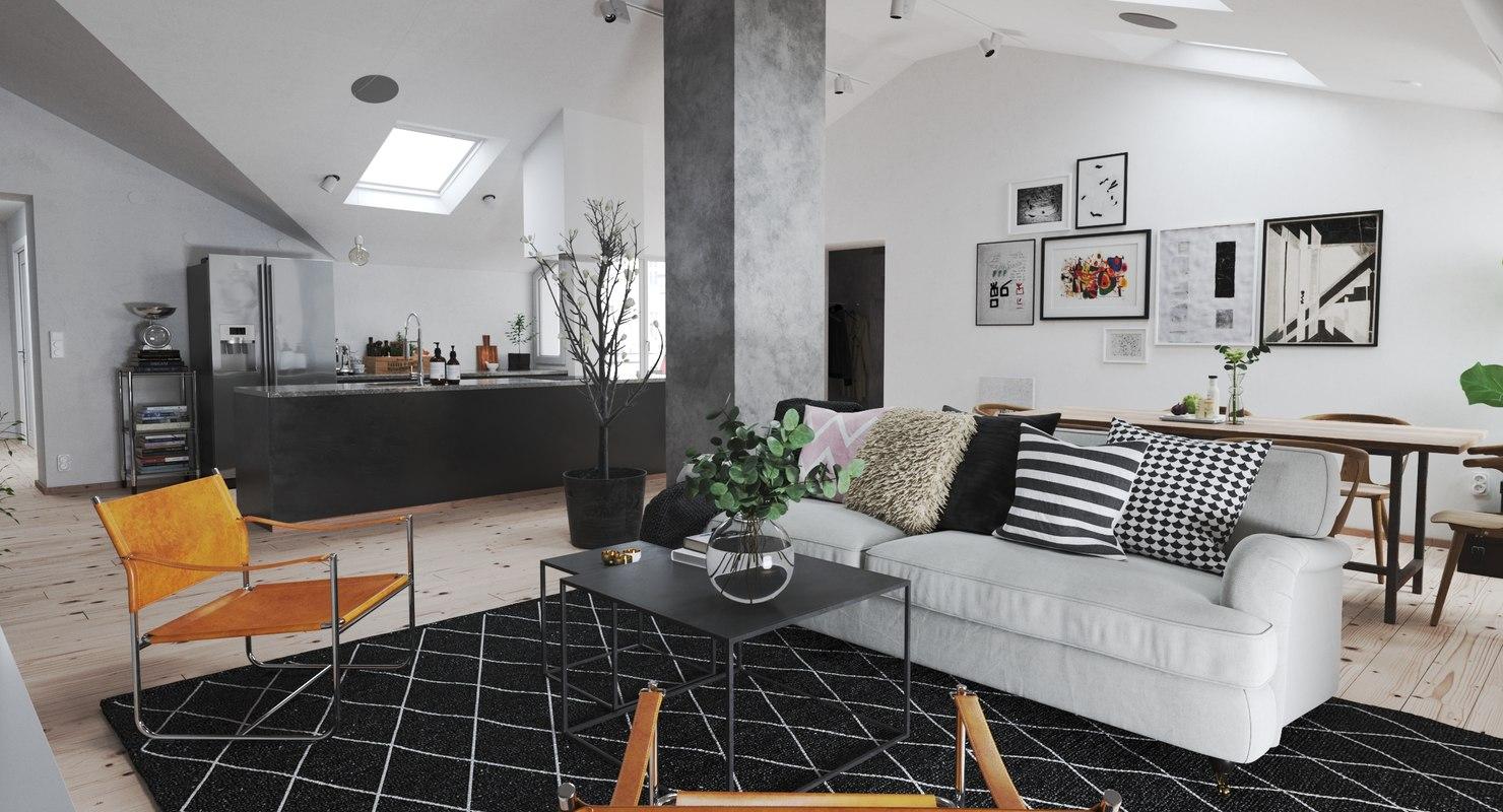 3D realistic scandinavian interior model