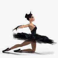 Black Swan Ballerina Rigged Character