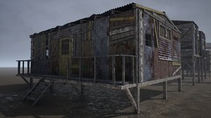 3D model pbr modular post-apocalyptic buildings