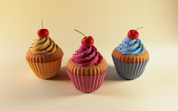 3D cupcakes cakes food