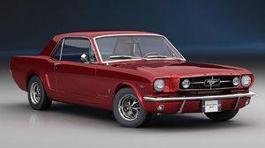 mustang 1965 interior car 3D model