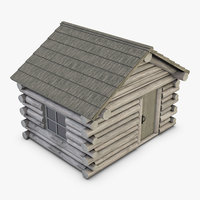3D realistic wooden house