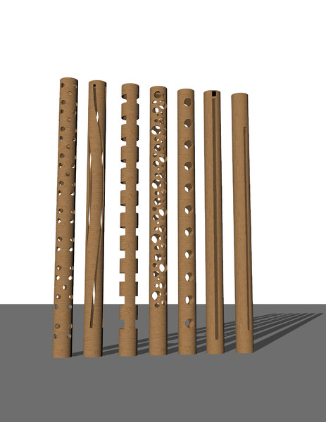 3D bamboo bollard lights architectural model