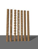 3D bamboo bollard lights architectural model