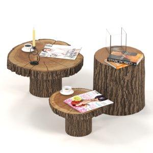 coffee tables stump 3D