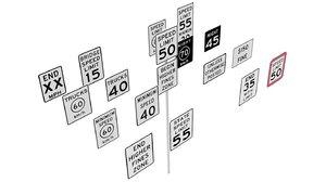 3D road sign series model