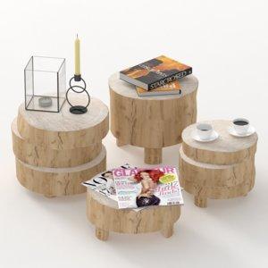 tables wooden 3D model