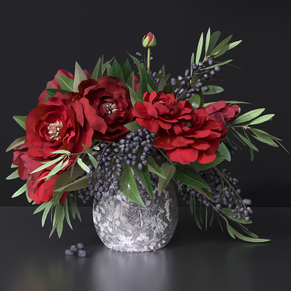 flower vase peony red 3D