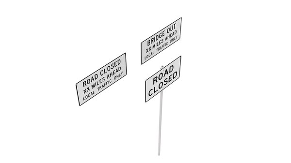 road sign series closed 3D