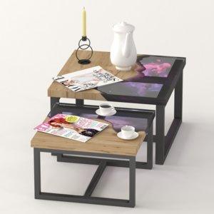 3D model slab epoxy coffee tables