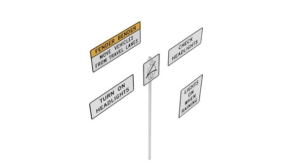 3D model road sign r16 series