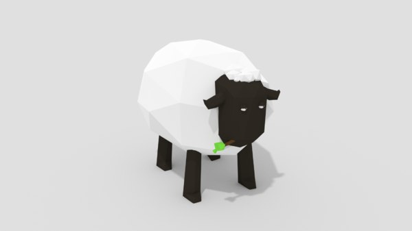 low-poly cartoon sheep model