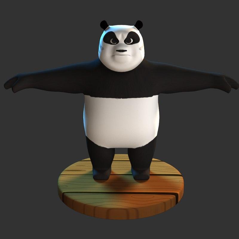 panda cartoon animation 3D model