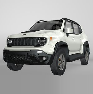 3D jeep renegade white trailhawk model