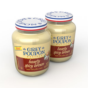 3D grey poupon jar