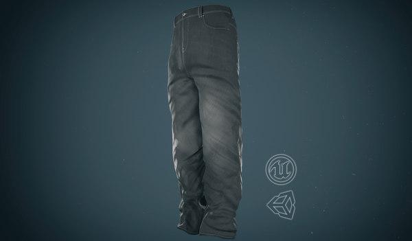gray baggy jeans pants 3D