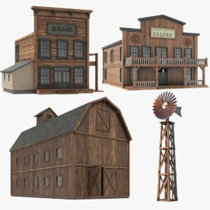 3D western building