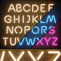 LED display modules. Set 06. Neon Alphabet