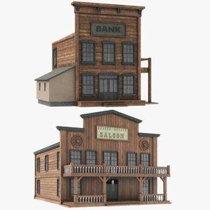 3D western building model