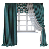 curtains window turquoise 3D model