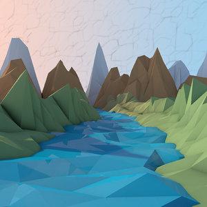 3D cartoon river environmenrt model