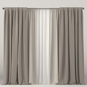 3D brown white curtain model