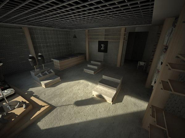 3D sport store interior
