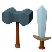 3D cartoon sword axe