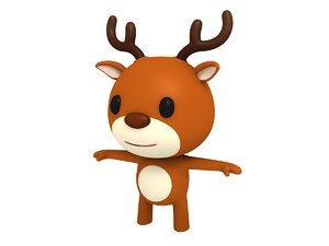 3D model deer cartoon