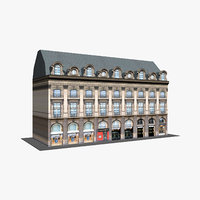 typical old city buildings 3D