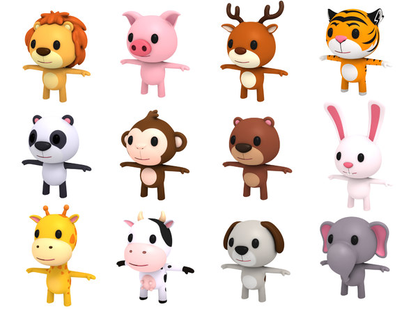3D model animal character pack