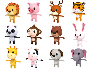3D model animal character pack