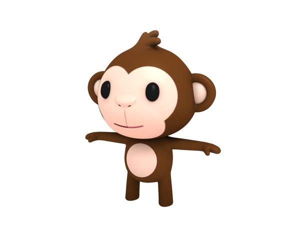 cartoon monkey character 3D model