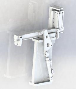 3D model oblique cylinder push mechanism