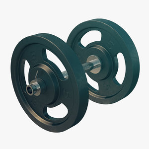 dumbell plates metallic 3D model