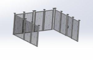 3D model guardrails industrial fencing