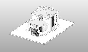 3D residential story penthouse roof house