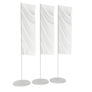 3D model white flag blank expo