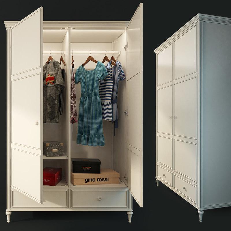 double door wardrobe riverdi 3D model
