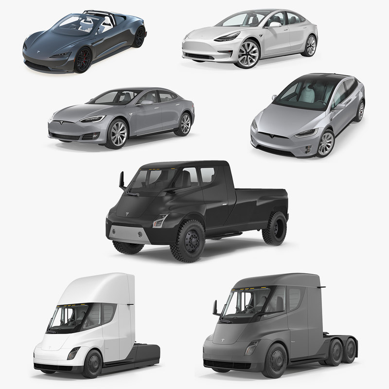 3D model tesla cars big 2