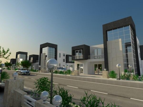 3D modern villa compound exterior