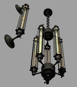 steampunk edison inspired lamp 3D model