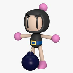 3D model kurubon super bomberman black