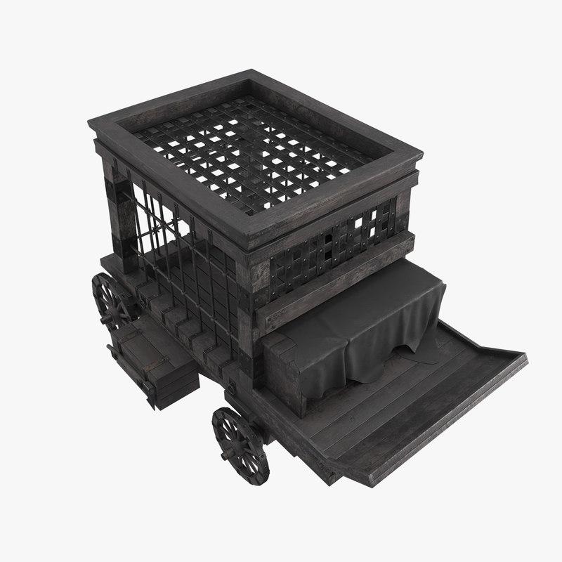 medieval prisoner trolley 3D model