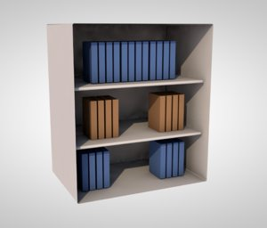 3D books shelves library