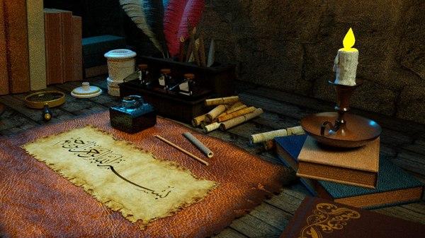 3D parchment table model