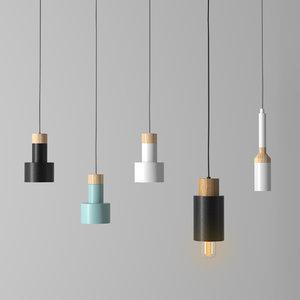 3D set 5 ceiling lamps model