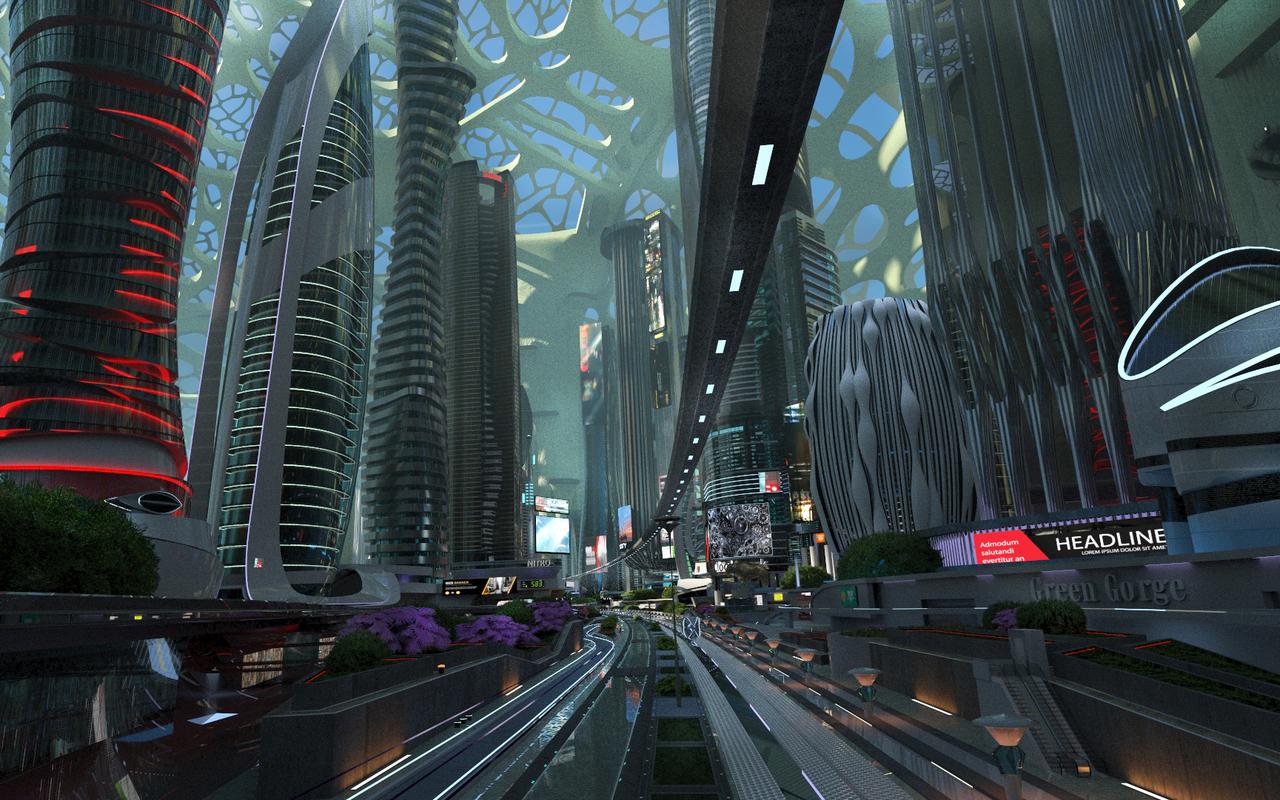 3D green future city model