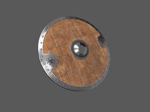 3D wooden shield model