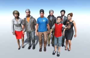 realistic pack modern people characters 3D model